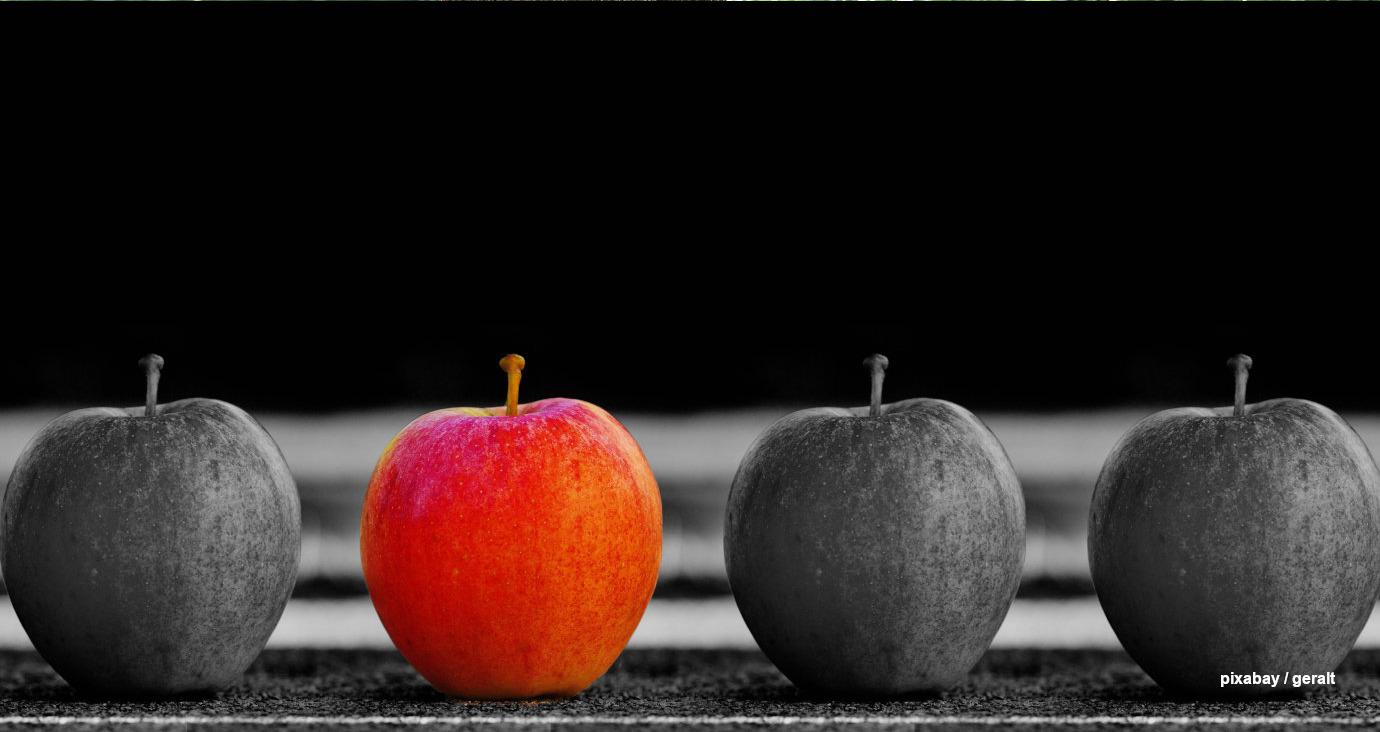 4 Äpfel, einer davon rot und auffällig
