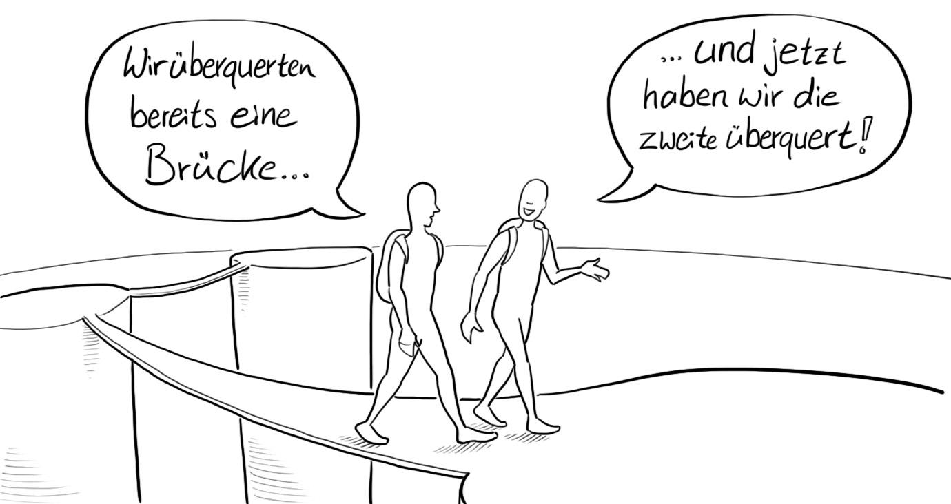 2 gezeichnete Figuren, die über Brücken gehen